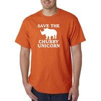 Trendy USA 1221 - Unisex T-Shirt Save The Chubby Unicorn Rhino Funny Humor Small Heliconia