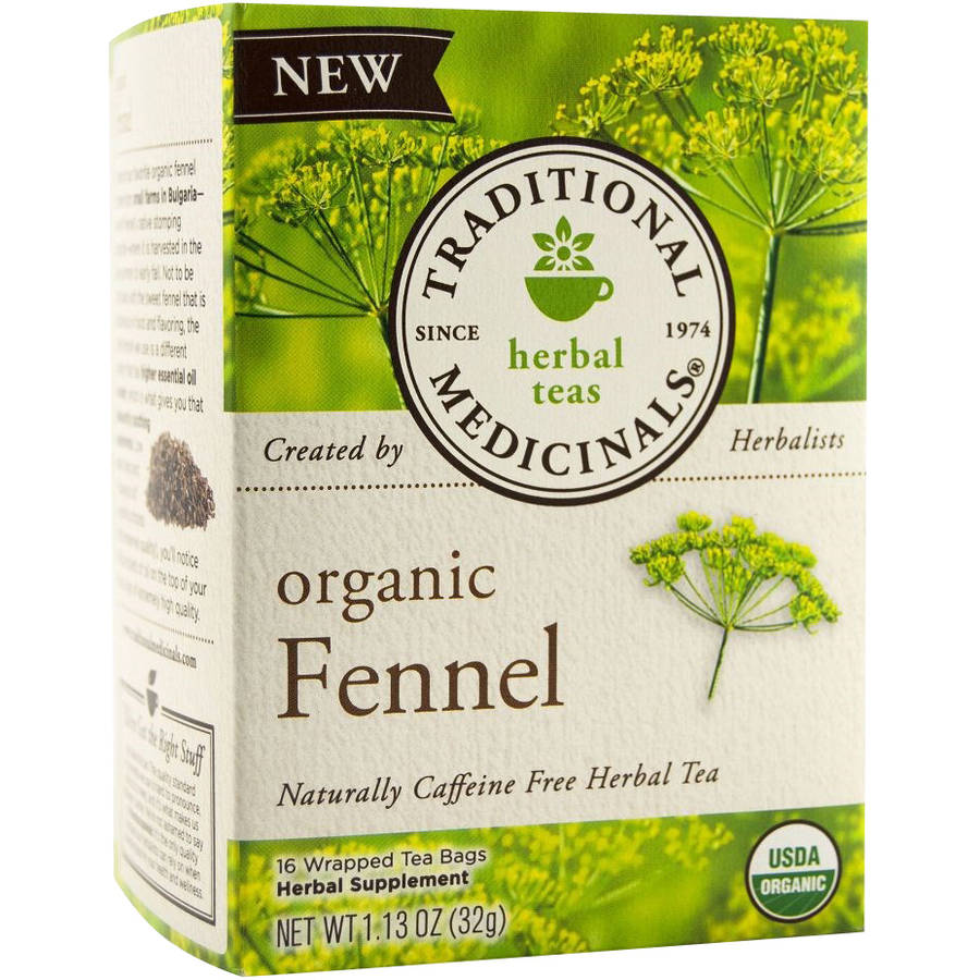 Traditional Medicinals Organic Fennel Herbal Supplement Tea, 1.13 oz, 16 count, (Pack of 2)