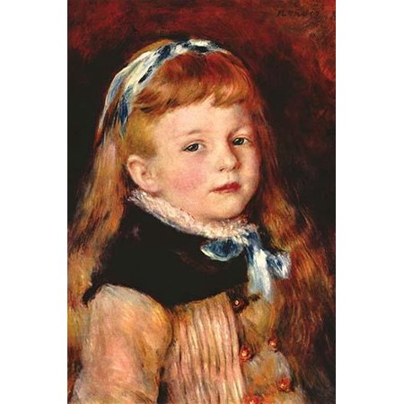Red Haired pre-school girl with grey eyes and Red hair tied with a blue ribbon Poster Print by Pierre-August  (Girl With Red Hair And Blue Eyes)