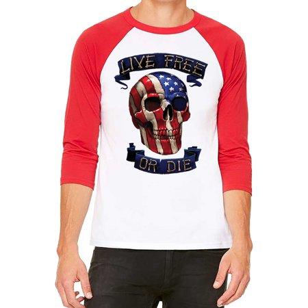 Unisex live Free Or Die USA Skull White/Red C5 3/4 Sleeve Baseball T-Shirt Large