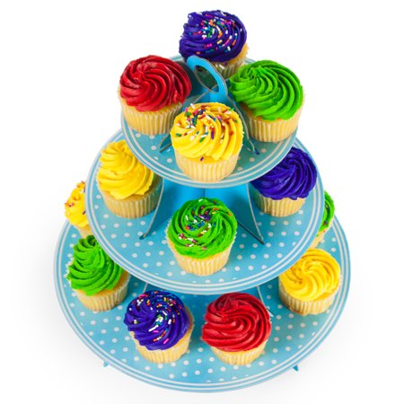 Blue Polka Dot 3 Tier Cupcake Stand, 14in Tall by 12in - 3 Tier Cupcake Stand