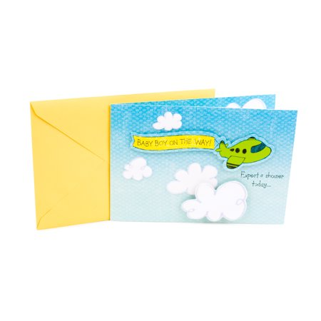 Hallmark Baby Shower Greeting Card for Baby Boy (Airplane with Banner) - Baby Shower Cards