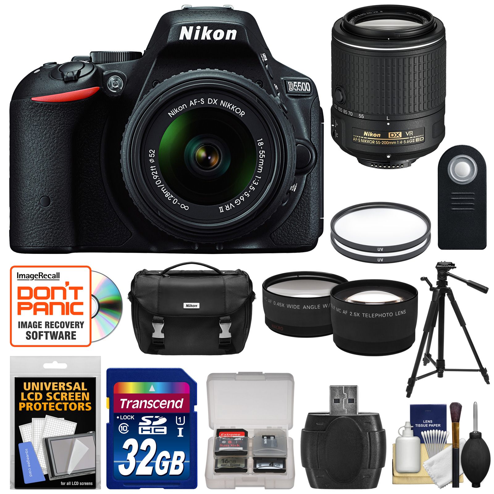 Nikon D5500 Wi-Fi Digital SLR Camera & 18-55mm VR DX Lens (Black) - Factory Refurbished with 55-200mm VR Lens + 32GB Card + Case + Filters + Tripod + Kit 1546B-89925-Kit