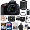 Nikon D5500 Wi-Fi Digital SLR Camera & 18-55mm VR DX Lens (Black) - Factory Refurbished with 55-200mm VR Lens + 32GB Card + Case + Filters + Tripod + Kit <b>Kit Includes 13 Items with all Manufacturer-supplied Accessories + Full USA Warranties:</b><br> 1) Nikon D5500 Wi-Fi Digital SLR Camera + 18-55mm VR DX Lens (Black) - Factory Refurbished<br> 2) Nikon 55-200mm f/4-5.6G VR DX AF-S ED Zoom-Nikkor Lens - Factory Refurbished<br> 3) Nikon Deluxe Digital SLR Camera Case - Gadget Bag - Factory Refurbished<br> 4) Transcend 32GB SecureDigital (SDHC) 300x UHS- Class 10 Memory Card<br> 5) 2 Vivitar 52mm UV Glass Filter<br> 6) Precision Design PD-58PVTR 58 in Photo/Video Tripod with Case<br> 7) Precision Design 2.5x Telephoto + .45x Wide-Angle Digital Lenses (49mm/52mm/55mm/58mm)<br> 8) Precision Design ML-L3 Wireless Shutter Release Remote Control for Nikon Cameras<br> 9) Precision Design SD/SDHC + MicroSD HC Card Reader<br> 10) Precision Design 6-Piece Camera + Lens Cleaning Kit<br> 11) Precision Design 8 SD / 2 MicroSD Memory Card Case<br> 12) Precision Design Universal LCD Screen Protectors<br> 13) ImageRecall Digital Image Recovery Software<br><br> Nikon D5500 Wi-Fi Digital SLR Camera + 18-55mm G VR DX II AF-S Zoom Lens (Black) <br>I Am Connected Creativity <br><br>Sometimes, inspiration comes from the tools we use to create. Take the <b>D5500</b> for example, a compact DSLR capable of inspiring a new level of creativity. From the moment you flip the touchscreen Vari-angle display and capture an ultra-sharp <b>24.2-megapixel photo</b>, youll begin to see your photography in a new light. At the flick of a switch, the D5500 transforms into a versatile <b>Full HD</b> video camera. Record <b>1080 video</b> at a high speed frame rate of <b>60p</b> -- perfect for capturing fast-moving subjects or creating ultra-smooth slow motion effects. Break free of the ordinary with star trail images, interval-timer sequences and HDR photography. Add artistic filters and effects and even retouch your shots right in the camera, and then share your creations instantly with <b>built-in Wi-Fi</b>. Inspiration has a new name, and its the D5500. <br><br>This outfit also comes with the <b>AF-S DX NIKKOR 18-55mm f/3.5-5.6G VR II Lens.</b> Optimized for Nikons new high-resolution DX-format image sensors, it borrows the ultra-compact retractable lens barrel design from the Nikon 1 system. Nikons remarkable <b>Vibration Reduction technology</b> provides <b>4.0 stops</b> of blur-free handheld shooting -- enjoy crisp, clear images even if your hands are a bit unsteady and shoot at slower shutter speeds in low-light situations. <br>Key Features: <br> <br> <b>Create everywhere</b><br> Theres an old saying: the best camera is the one thats with you. The D5500 is designed to always be with you. Its small and lightweight (just 14.9 oz.), so you wont mind taking it along. Its strong and durable (thanks to a monocoque structure featuring long-fiber reinforced thermoplastics), so you wont worry when conditions get rough. And its ergonomic design and easy-to-use controls will have you shooting the pictures youve always wanted in no time. <b>Focus on the moment</b><br> The D5500 delivers outstanding speed and accuracy to help you catch all the moments that matter -- smiles, tears, big plays and big hugs. Its 39-point AF system includes nine highly accurate cross-type sensors for enhanced AF accuracy. Freeze moments by shooting up to 5 frames per second, or extend moments with unlimited continuous shooting at shutter speeds between 4 and 30 seconds for stunning star trail images. <b>Make it cinematic</b><br> Cinematic storytelling is at your fingertips with the D5500. Capture Full HD video at a frame rate of 60p with tack-sharp details, vibrant colors and high-fidelity stereo sound. An improved full-time autofocus keeps moving subjects sharp, and advanced Picture Controls like Flat and Clarity make it easier to perfect your moovies in post-production. <b>Enjoy the view</b>