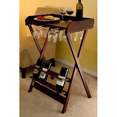 4 bottle folding wine table with rack walnut for Table 52 wine list