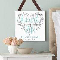Personalized My Whole Heart Square Wood Plaque - Black