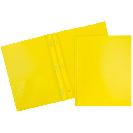 JAM Paper Plastic Eco Two Pocket Presentation Folder with Clasps, Yellow, 96/pack - Plastic Folders