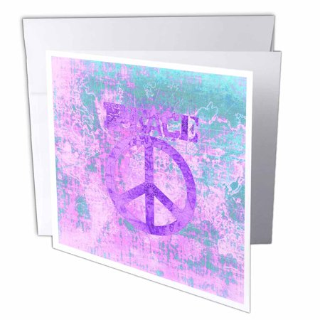3dRose Vintage Purple World Peace Map, Greeting Cards, 6 x 6 inches, set of 12