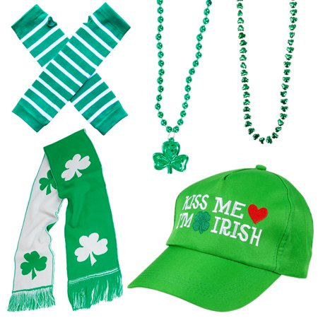 St. Patrick's Day Irish Attire 5pc Costume Accessory Set, Green, (Saint Patrick's Day Costume Ideas)