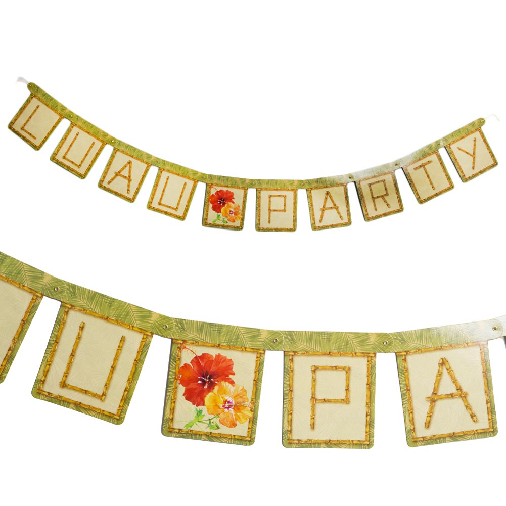 """Jointed """"Luau Party"""" Bamboo Banner"""