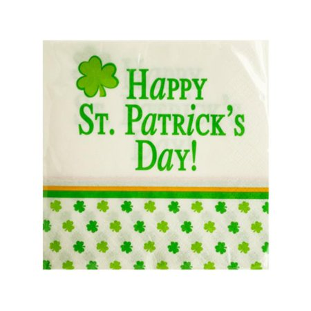 Bulk Buys PB568-96 Happy St. Patricks Day Beverage Napkins, 96 Piece