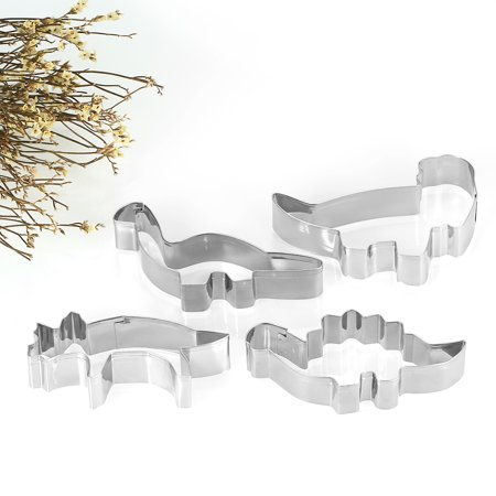 4pcs Dinosaur Stainless Steel Cookie Cutters Fondant Cutter Biscuit Cutters Sandwich Cutters Cookie Cutter Set ()
