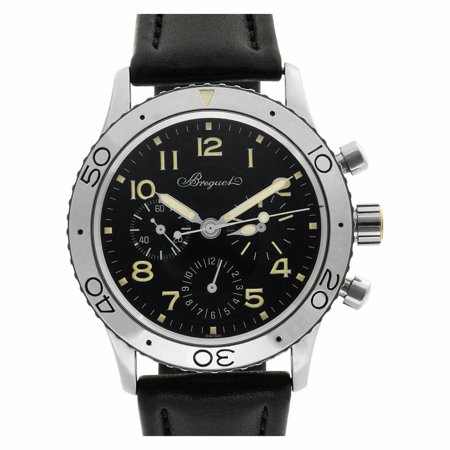 Pre-Owned Breguet Aeronavale 3800ST/9 Steel  Watch (Certified Authentic & Warranty) Breguet, Aeronavale, 3800st/92/9w6, Automatic Self Wind, Used, Production Year:1996, Case Material: Stainless Steel, Bezel Material: Stainless Steel, Dial Type: Analog, Dial Color: Black, Band Material: Calfskin, Band Color: Black, Band Width: 21.0mm, Band Length: 0.0in, Box And Papers, External Condition: Excellent,