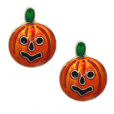 Halloween Jewlery (cocojewelry Small Pumpkin Stud Post Earrings Halloween Jack O Lantern)