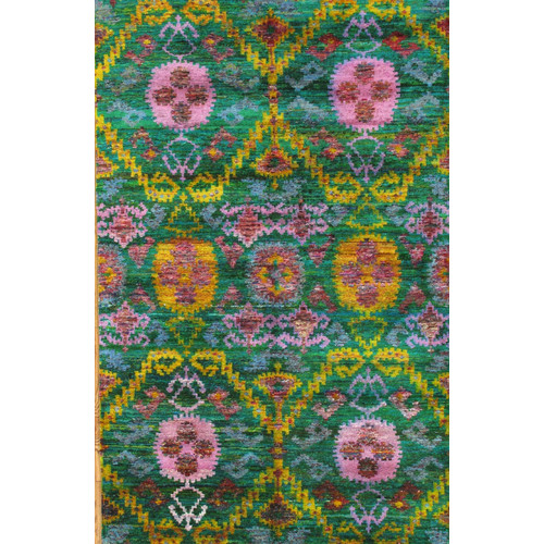 Pasargad Sari Silk Hand-Knotted Multi-colored Area Rug