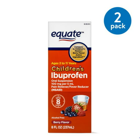 (2 Pack) Equate Childrens Ibuprofen Berry Suspension, 100 mg, 8 Fl -