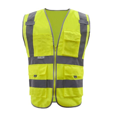 GOGO 9 Pockets High Visibility Zipper Front Safety Vest With Reflective Strips, Meets ANSI Standards-Yellow-L