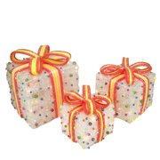 """Set of 3 White Lighted Tinsel Gift Boxes with Bows and Candy Christmas Outdoor Decorations 11"""""""