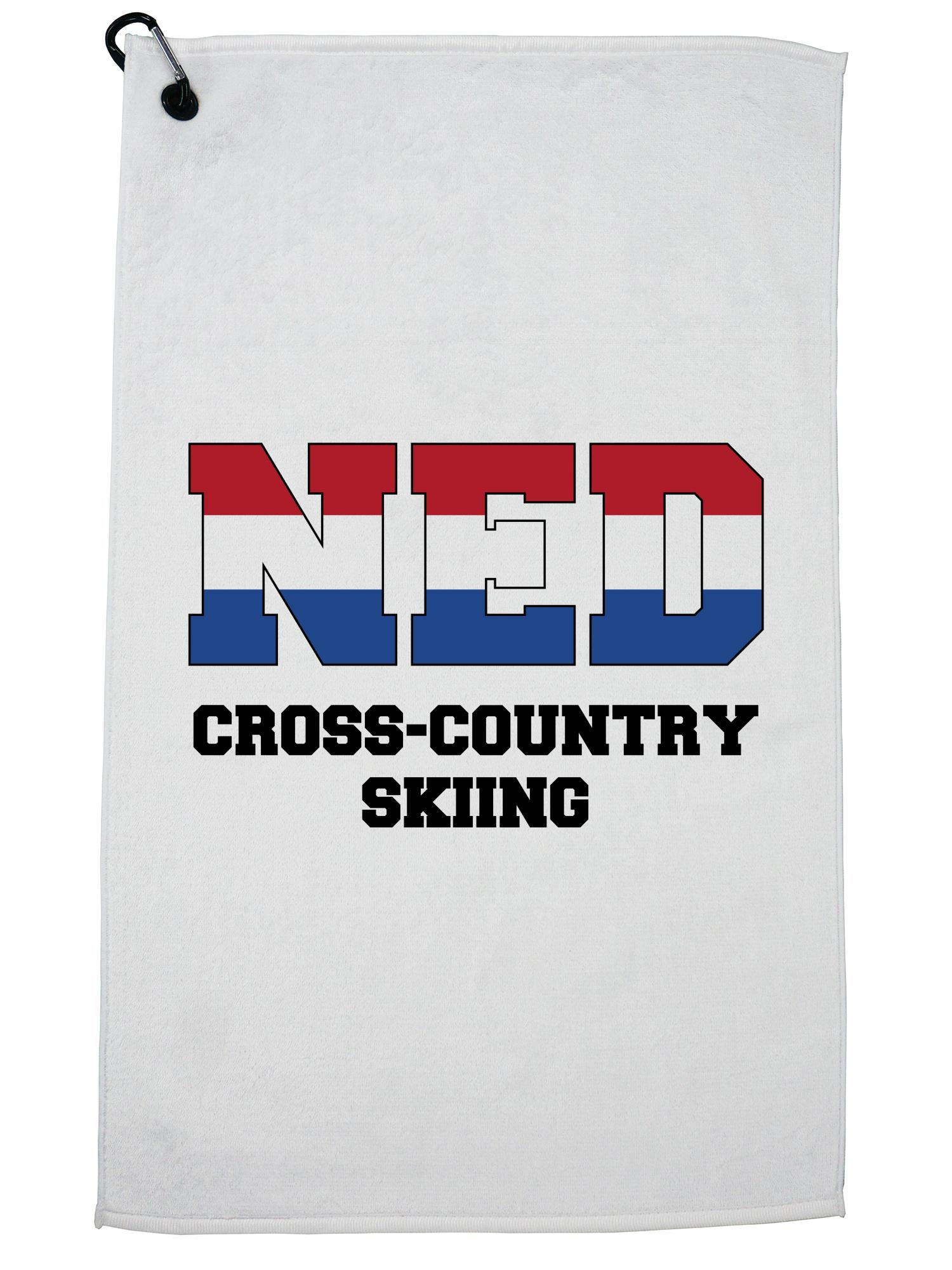 Dutch Cross-Country Skiing Winter Olympic NED Flag Golf Towel with Carabiner Clip by Hollywood Thread