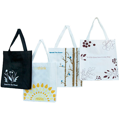 Set of 4 Eco-Friendly Oversized Reusable Grocery Totes