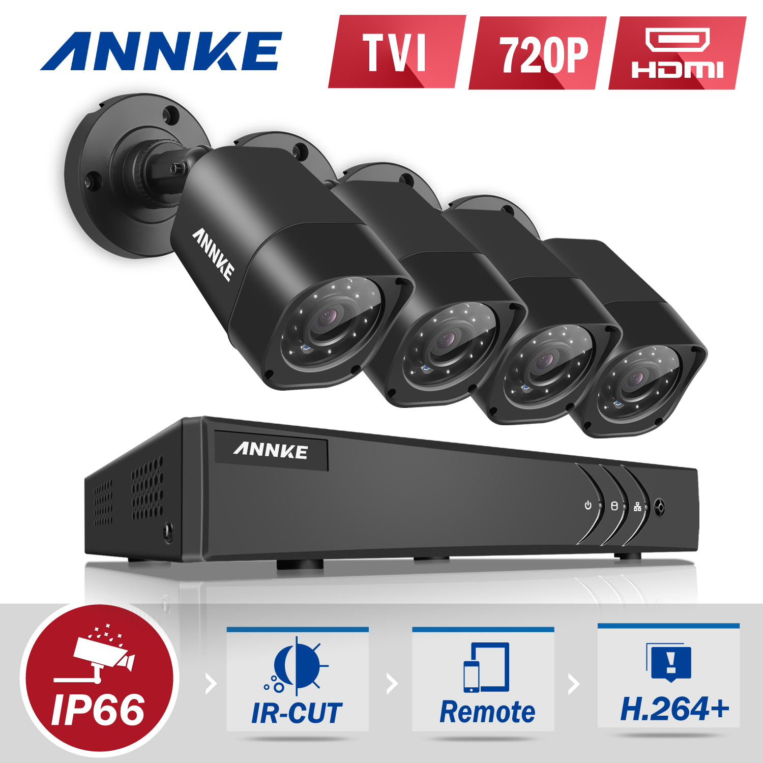Annke 8-Channel HD-TVI 1080P Lite Video Security System DVR and 4 Weatherproof Indoor/Outdoor Cameras IR Cut Night Vision(0-NO HDD,1-1TB HDD)