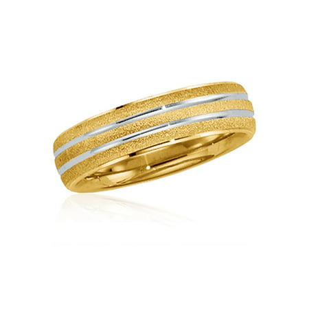 14k Two-Tone Gold 6mm Striped Band, Size 7