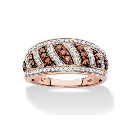 1/2 TCW Round Red and White Diamond Diagonal Row Ring Band in Chocolate and Rose Gold over Sterling Silver