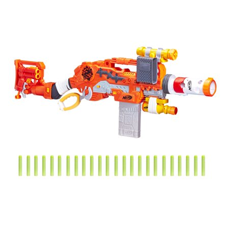 Nerf Zombie Strike Survival System Scravenger with Two 12-Dart Clips, 26 Darts, Light, Barrel Extension, Scope, Stock, and 2-Dart