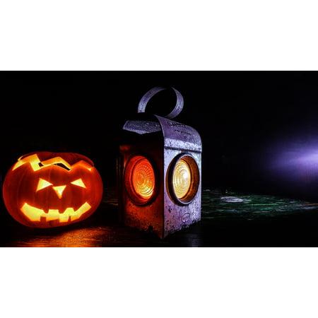Peel-n-Stick Poster of Jack O Lantern Halloween Lantern Carved Pumpkin Poster 24x16 Adhesive Sticker Poster - Carved Halloween Pumpkins
