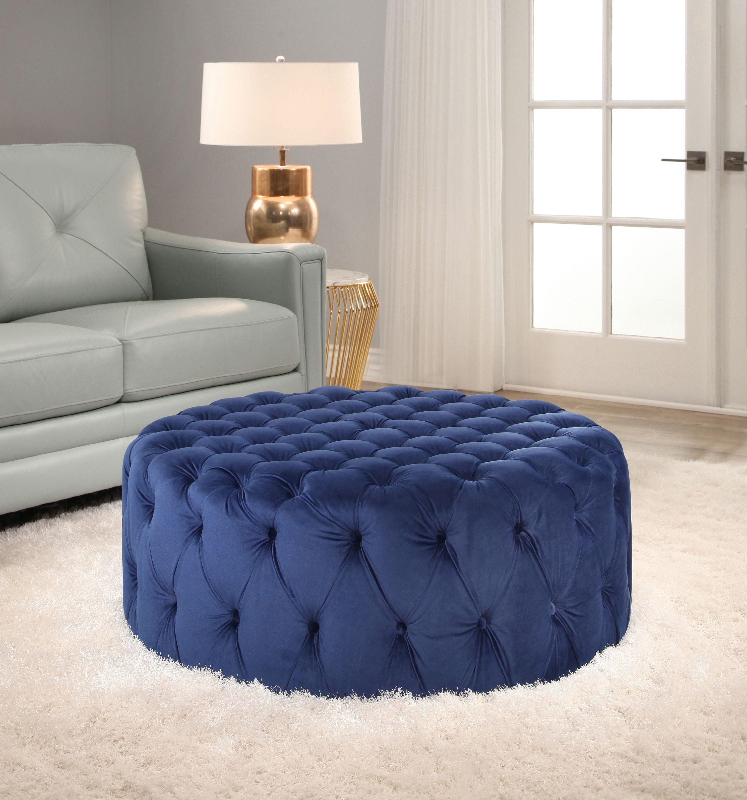 Devon Amp Claire Lily Tufted Velvet Ottoman Sapphire Blue