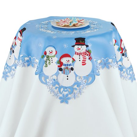 Holiday Snowmen Blue Christmas Table Linens, Square