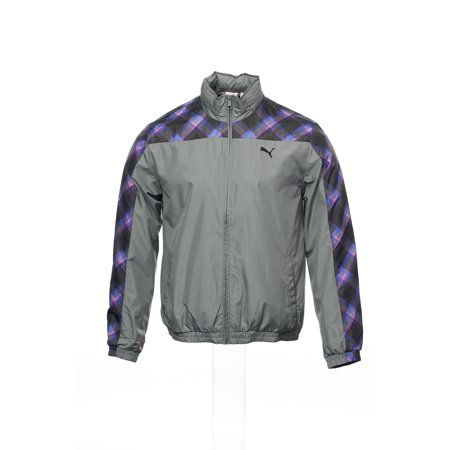 Puma Windbreaker Jacket - Puma Gray Plaid Windbreaker , Size Large
