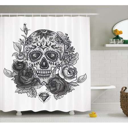 Sugar Skull Shower Curtain Monochrome With Roses Leaves And Diamond Shape Folklore Festival Print