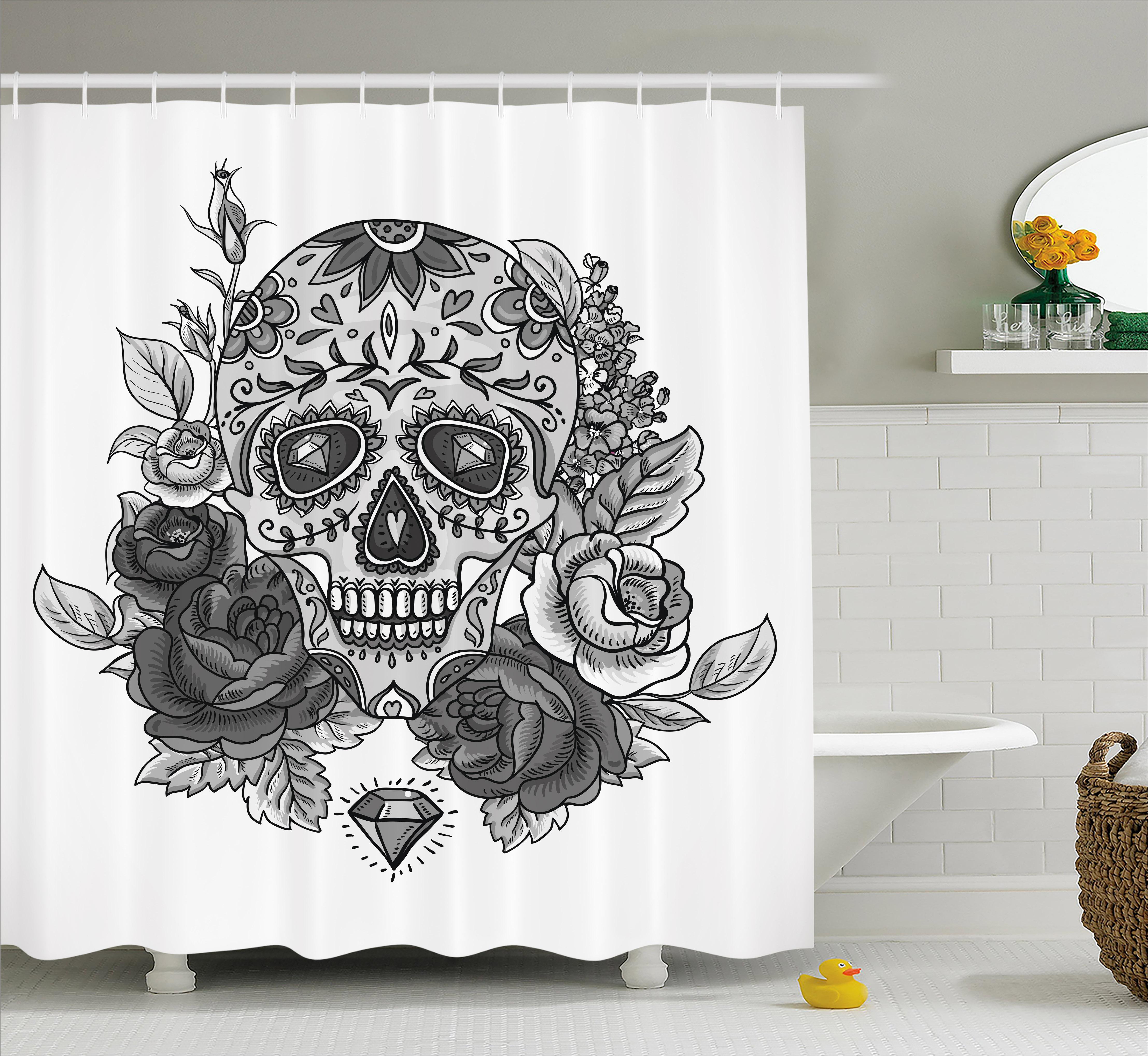 Sugar Skull Decor Shower Curtain, Monochrome Skull Roses Leaves And Diamond  Shape Folklore Festival,