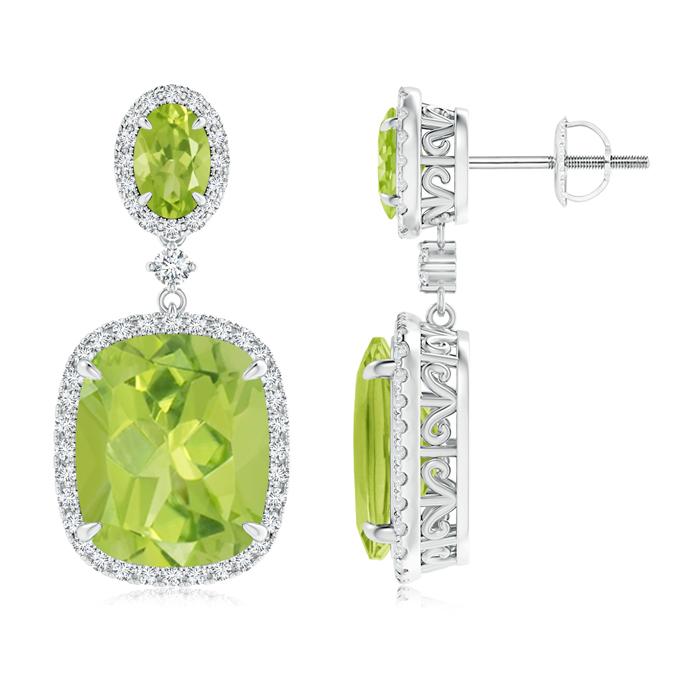 Angara Dangling Peridot and Diamond Halo Earrings in Yellow Gold hPH2Mt