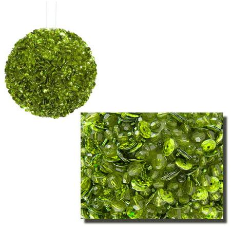 Vickerman Lavish Lime Green Fully Sequined & Beaded Christmas Ball Ornament 4.25