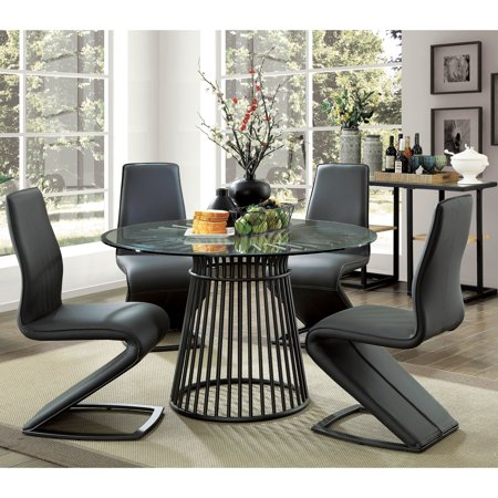 Furniture of America  Byron Modern Round 48-inch Glass Top Dining Table -