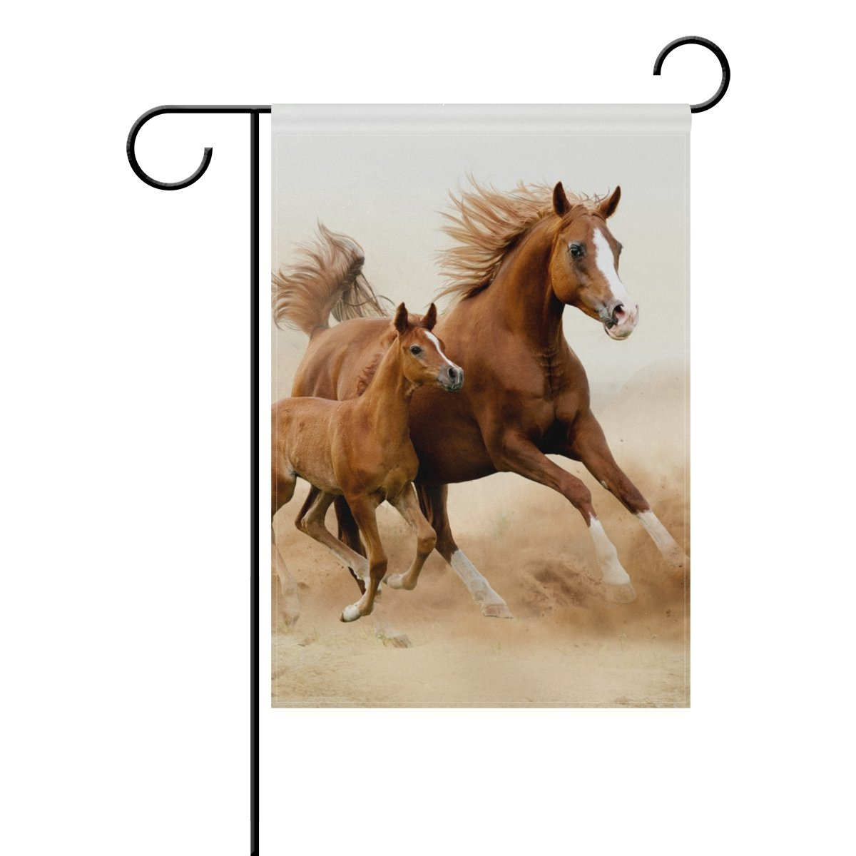 POPCreation Baby Horse And His Mom Polyester Garden Flag Outdoor Flag Home  Party Garden Decor 28x40