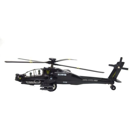 Apache Army Air Force Black Attack Helicopter Cast Metal Toy Model, To-HC-B