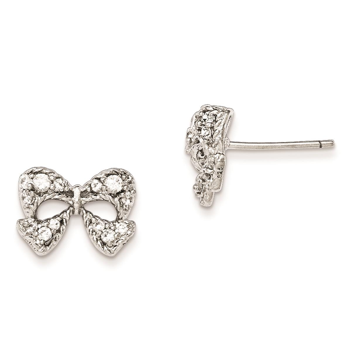 Childrens 925 SS CZ Micro pave Bow Post Kids Earrings 13mm x 10mm