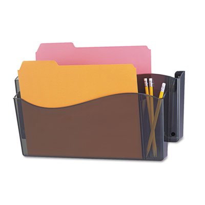 Unbreakable 4-in-1 Wall File, Two Pocket, Plastic, Smoke, Sold as 1 Each