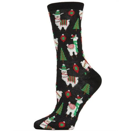 MeMoi Holiday Llama Crew Socks | Women Christmas Novelty Socks One Size 9-11 / Black MCV04077 (Cheap Christmas Socks)