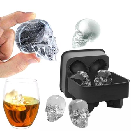 Skull Shape 3D Ice Cube Mold Maker Bar Party Silicone Trays Chocolate Mold Gift](Skull Ice Cube Tray)