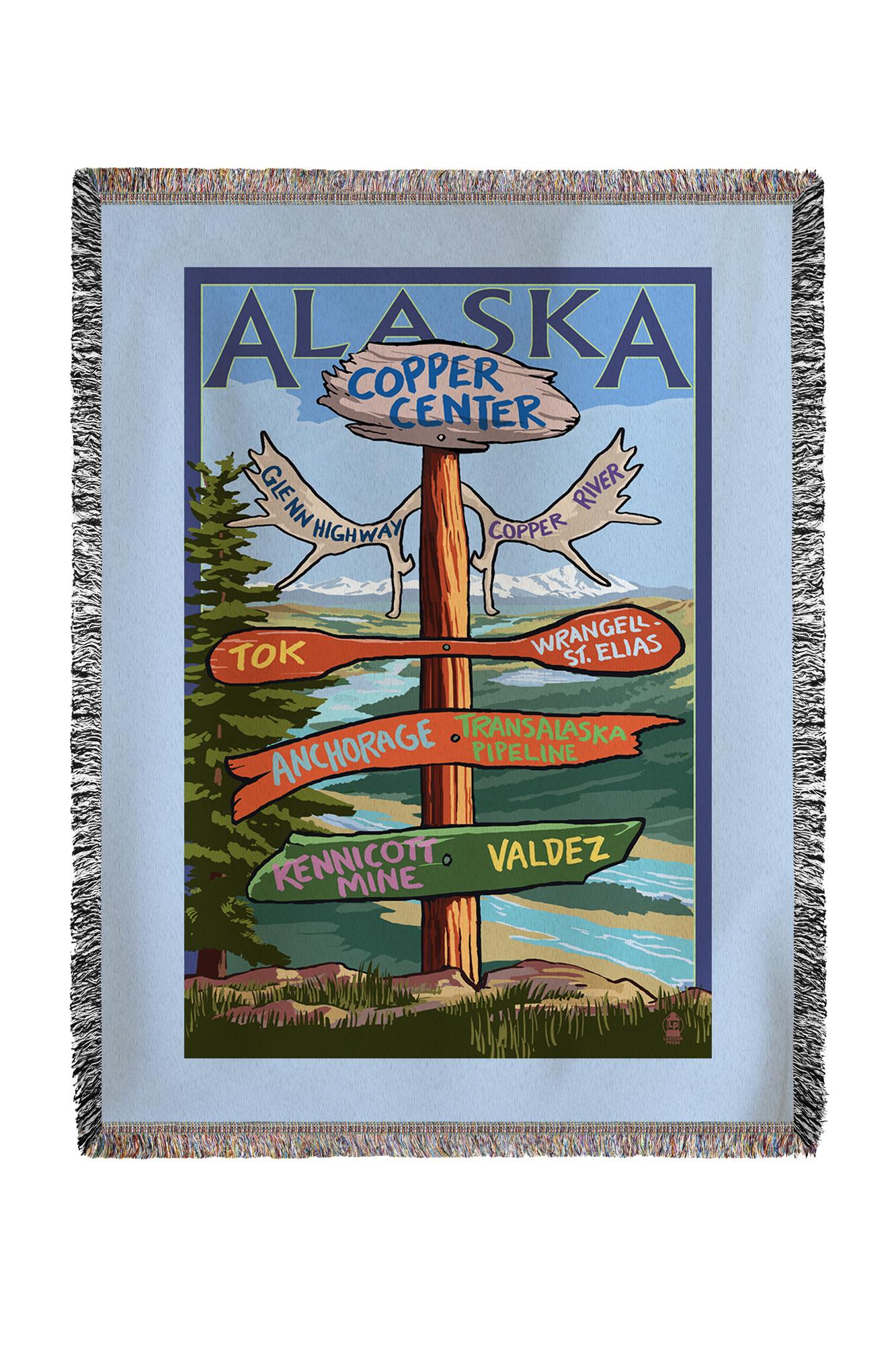Copper River, Alaska Sign Post Lantern Press Poster (60x80 Woven Chenille Yarn Blanket) by Lantern Press