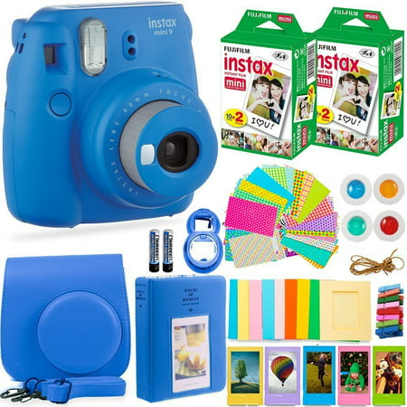 - FujiFilm Instax Mini 9 Instant Camera + Fuji Instax Film (40 Sheets) + Accessories Bundle - Carrying Case, Color Filters, Photo Album, Stickers, Selfie Lens + MORE (Cobalt Blue)