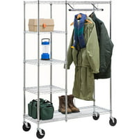 Honey Can Do Heavy-Duty Rolling Garment Rack with Shelves, Chrome