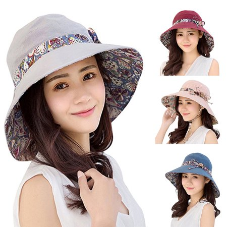 Reversible Brim Beanie (ZeAofa Women Summer Beach Travel Bowknot Wide Brim Sun Hat Reversible Foldable Cap)