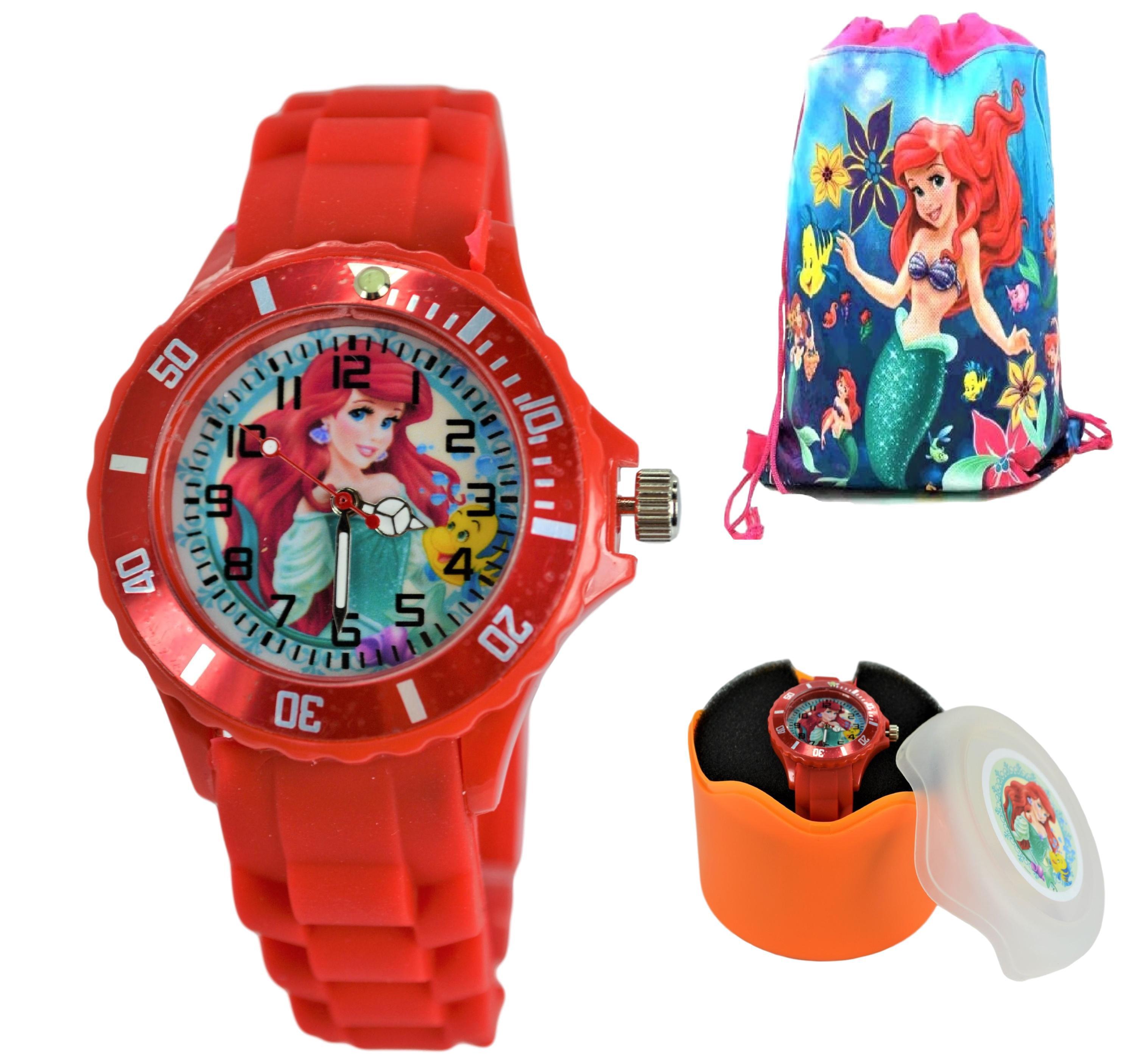 Disney Princess Little Mermaid Gift Set. Wrist Watch & Drawstring Bag For Girls