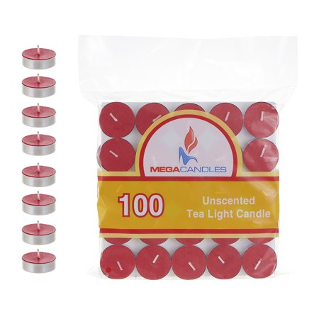 Mega Candles - Unscented Tea Light Candles - Red, Set of 100](Red Tea Candles)