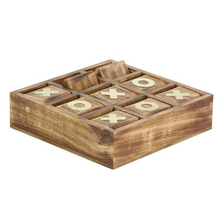 2 X 10 Inch Rustic Mango Wood and Brass Tic Tac Toe Decorative Box, Rustic Dark Brown
